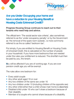 Under occupying your home leaflet